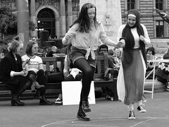 Peaceful Protest (coatbriggeezer) Tags: dancing climatechange vegan piece protesters georgesquare glasgow scotland blackandwhite