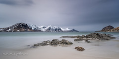 Beauty of Arctic Nature (NORDIC Lightbeams) Tags: lofoten haukland norwegen berg vestvågøya fuji1024mmf4 langzeitbelichtung strand beach gebirge norway bulbexposure longtimeexposure mountain rock