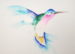 Watercolour Humming Bird (JennTurner) Tags: painting watercolour brush pens art creative drawing bird hummingbird colours