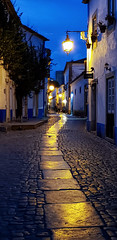 Obidos, Portugal, at night (Randy Durrum) Tags: street portugal night obidos reflection glare samsung cobblestones galaxy deserted s9 durrum plus