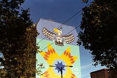 (Yutaka Seki) Tags: vancouverbc kiev4am helios103 kodakgold200 sunny16 homedeveloped unicolorpresskit argentixcac41powderkit pakonf135 eagle mural wall painting