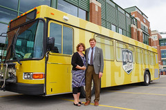 Press Conference - Metro Transit Routes Green and Gold with Packers 7 (City of Green Bay) Tags: metro transit green bay packers gold routes titletown downtown