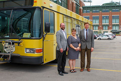 Press Conference - Metro Transit Routes Green and Gold with Packers 3 (City of Green Bay) Tags: metro transit green bay packers gold routes titletown downtown