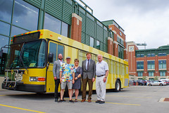 Press Conference - Metro Transit Routes Green and Gold with Packers 4 (City of Green Bay) Tags: metro transit green bay packers gold routes titletown downtown