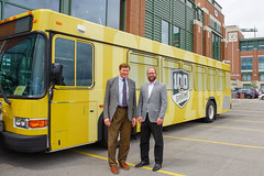 Press Conference - Metro Transit Routes Green and Gold with Packers 8 (City of Green Bay) Tags: metro transit green bay packers gold routes titletown downtown