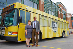 Press Conference - Metro Transit Routes Green and Gold with Packers 9 (City of Green Bay) Tags: metro transit green bay packers gold routes titletown downtown