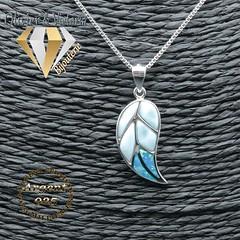 Pendentif feuilleté de larimar et opale en argent 925 (olivier_victoria) Tags: argent 925 pendentif feuille opale larimar feuillete