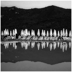 Quiet reflection (Johnbasil1) Tags: order repetition repetitive minimal blackandwhite evening empty mono still quiet tranquil calm reflection