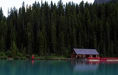 The Dock (Christy Turner Photography) Tags: lakelouise banffnationalpark alberta reddress redhead nature mountains rockies landscape