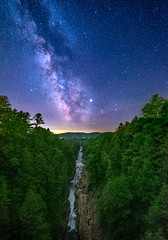 Through The Slot! (abhijitcpatilphotography) Tags: milkyway galaxy cosmos stars night nightsky nightshot darksky darkskyshot nightphoto nightphotography nightscape nightimages milkywayphotography milkywayphotos milkywayshots gorge water mountains valley green trees color