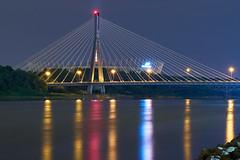 Night Bridge (radkuch.13) Tags: europe poland warsaw bridge water night reflections river nightlights stadium sony polska most stadion warszawa wisła vistula rzeka świętokrzyski sonyalpha a7rii