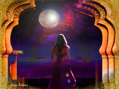 Pondering The Night Sky (brillianthues) Tags: moon night woman sky arches dark mysterious colorful collage photography photmanuplation photoshop