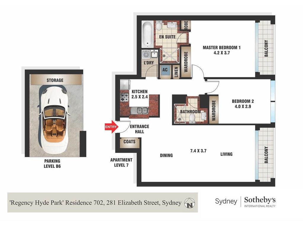 Residence 702/281 Elizabeth Street 'Regency Hyde Park', Sydney NSW 2000 floorplan