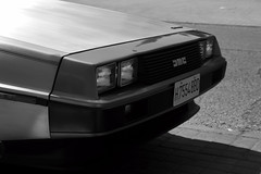 DMC-12 (Miguel Ángel Prieto Ciudad) Tags: car outdoors front view closeup automobile automotive motor cinema blackandwhite monochrome delorean dark sonyalpha alpha3000 mirrorless emount auto sportcar