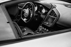 Audi Control Center (rikioscamera) Tags: blackandwhite bw cars monochrome nikon automobile interior overcast d750 sportscars lightroom silverefexpro steering dashboard audi morningshift porscheexperiencecenter