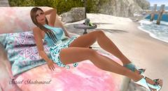summerbreeze (sryel90) Tags: elise tpgproject foxy belleza freya laq noelle blue summer breeze beach heat heels dress sunny sunbath