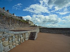 Steps to the Beach (janedoe.notts) Tags: england unitedkingdom devon dawlish beach steps sand clouds wall walkway sky