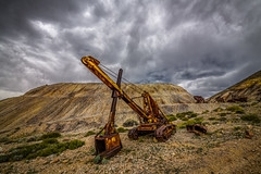 Excavator at a Nevada Mine (Jeff Sullivan (www.JeffSullivanPhotography.com)) Tags: excavator clouds storm tonopah gold point mine historic mining town nye county nevada usa abandoned rural decay photography nikon d850 photos copyright jeff sullivan may 2019
