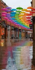 Wet Wet Wet (Roger Ellison) Tags: wet rain umberella durham shopping colours rainbow