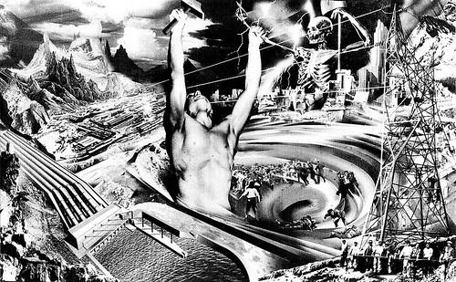 Boceto para el mural La electrificación total de México acabará con la miseria del pueblo, Renau, 1941. Foto cortesía  Sala de Arte Público Siqueiros