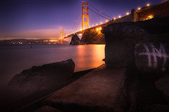 'Dream Baker' (JEMiguel007) Tags: baker fort beach golden gate bridge night stars calm graffiti purple haze city lights rocks stones