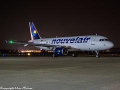 Nouvelair TS-INC HAJ at Night (U. Heinze) Tags: aircraft airlines airways airplane planespotting plane olympus omd em1markii flugzeug haj hannoverlangenhagenairporthaj night eddv