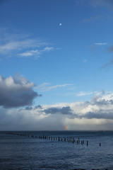 Between my lines (Keith Midson) Tags: bridport moon oldpier pier sky water sea ocean tasmania rainbow