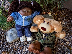 Old Friends Go Hiking (Bennilover) Tags: furskin furskinbear camouflage cabbagepatchdoll toys teddybears dolls 1983 past