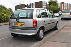 2000 Vauxhall Corsa (doojohn701) Tags: vintage reflection retro sky car buildings vegetation luton vauxhall corsa 2000 road pavement sidewalk sidcup uk