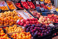Assortment of fresh summer fruits and berries (wuestenigel) Tags: closeup berry raw market sweet eating group peach plum apricot blue red summer food orange macro fruit lemon healthy natural background fresh delicious blueberry grapefruit organic diet onsale showcase freshness ripe