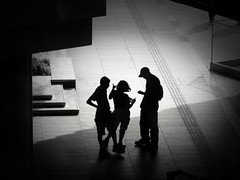 It's that way (明遊快) Tags: bw monochrome people silhouette tourist shadows light contrast lines street urban japan candid