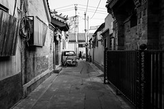 To go left (Go-tea 郭天) Tags: pékin républiquepopulairedechine beijing hutong narrow alley ancient old pavement bricks construction building history historical historic traditional tradition desert empty alone lonely quiet arrow sign left lady walk walking movement electric electricity lines cables car bike bicycle wall cold winter sun sunny shadow street urban city outside outdoor people candid bw bnw black white blackwhite blackandwhite monochrome naturallight natural light asia asian china chinese shandong canon eos 100d 24mm prime