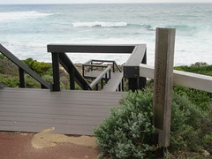 Steps at Fraggle Rock (Kevin Fenaughty) Tags: outdoor seaside waves steps fence bush sign prevelly westernaustralia australia