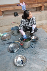 Traditional Dyes (peterkelly) Tags: digital canon 6d asia southeastasia southkorea seoul woman dying cloth craft metal bowl gloves lid pot blue indigo bukchonhanokvillage traditionalcraftsexperiencecenter