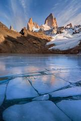 Fitz on Ice | Mount Fitz Roy, Patagonia (v on life) Tags: cerrofitzroy montefitzroy mountfitzroy ice frozenlake clouds vertical argentina patagonia southernpatagoniaicefield lagunadelostres icecracks bluesky snow glacier mountains