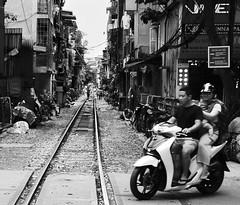 Train Street (millwall.rl) Tags: hanoi scooter honda railway tracks black white street houses urban