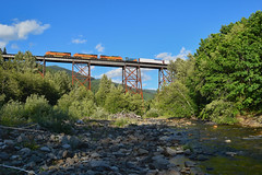 Over the Green River (SeanFKelly) Tags: bnsf cascades cascaderange cascademountains forest trees mountains greenriver lester stampede stampedepass water river stream creek bridge trestle train railroad manifest sky rocks rocky