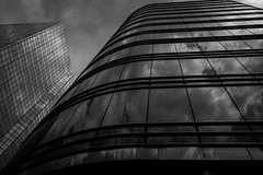 Cloud reflections (debeeldenplukker) Tags: building architecture reflections blackandwhite monochrome zwartwit