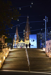 Night Church (bobarcpics) Tags: melbourne melbournearchitecture federationsquare stpaulscathedral staircase steps people winter