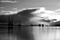 Rigs (matthewblackwood10) Tags: black white scotland uk inverness nigh sea coast sky cloud light shadow smooth oil rig clouds grey reflections mirror summer