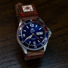 Mako (dyfuzor 1) Tags: watches orient mako blue red leather diver fujixe3