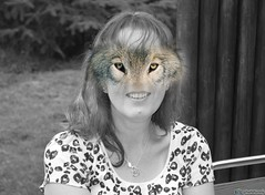 Wolf Eyes (suekelly52) Tags: humanimal wolf human fun humour woman face eyes