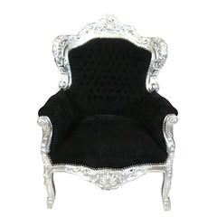 Fauteuil baroque royal noir et argent (HTDECO FR) Tags: fauteuil baroque noir et argent