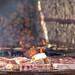 Noch rohe, saftige Koteletts auf runder OFYR Grillplatte und Feuerschale vor Holzscheiten
