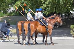 Reiterpolizei mit belgischer Flagge auf ihrer Seite auf einer Straße von Brüssel