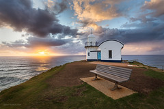 Good Morning (Brian Bornstein) Tags: lighthouse sunrise tackingpointlighthouse sunburst brianbornstein portmacquarie waves water canon6d nsw clouds