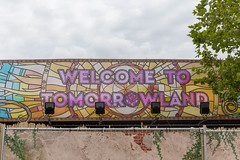 Colorful 'Welcome to Tomorrowland' sign welcomes the visitors of Tomorrowland at the entrance of the festival in Boom, Belgium (verchmarco) Tags: festival tomorrowland europa belgium brussel europe 2019 brüssel music graffiti urban städtisch locomotive lokomotive travel reise color farbe street strase art kunst city stadt railway eisenbahn vintage jahrgang wall wand old alt design architecture diearchitektur building gebäude noperson keineperson train zug outdoors drausen desktop sky himmel