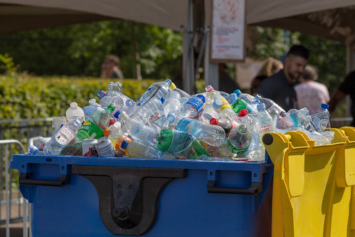 Container filled with collected empty PET bottles, cans and plastic cups at Tomorrowland Festival 2019