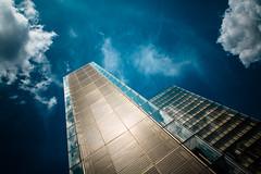 Saturday night fever (fidgi) Tags: paris architecture blue bleu gold or ciel sky nuage cloud external reflet reflection bnf bibliothèquefrançoismitterrand tour tower canon canoneos5dmk3 tamron light lumière