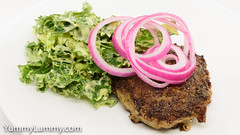 Beef and pork burger with pickled onion and Hollandaise sauce salad (garydlum) Tags: beef cabbage cheese hollandaisesauce kale lettuce pickledonion pork canberra australiancapitalterritory australia